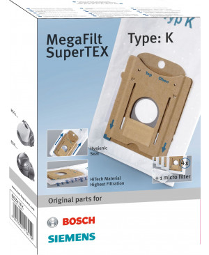 Sacs Aspirateurs MegaFilt SuperTex type K BOSH BBZ41FK